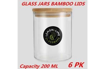 6 x Glass Jar Food Storage Bottles Sealed Cans Bamboo Lid Air Tight Container 200ml