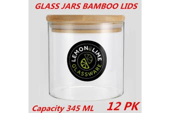 12 x Glass Jar Food Storage Bottles Sealed Cans Bamboo Lid Air Tight Container 345ml