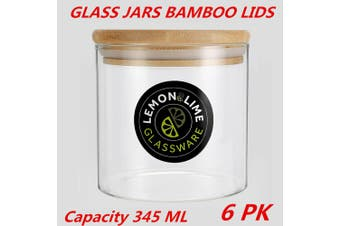 6 x Glass Jar Food Storage Bottles Sealed Cans Bamboo Lid Air Tight Container 345ml