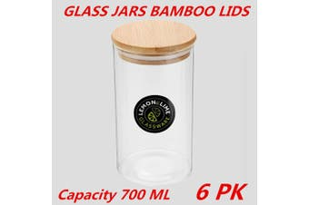 6 x Glass Jar Food Storage Bottles Sealed Cans Bamboo Lid Air Tight Container 700ml