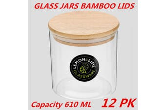 12 x Glass Jar Food Storage Bottles Sealed Cans Bamboo Lid Air Tight Container 610ml