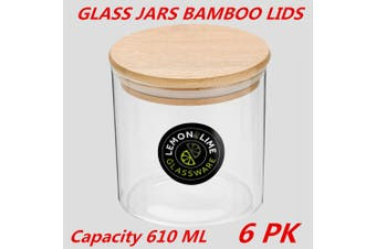 6 x Glass Jar Food Storage Bottles Sealed Cans Bamboo Lid Air Tight Container 610ml