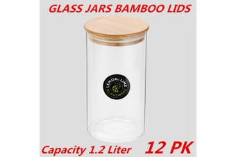 12 x Glass Jar Food Storage Bottles Sealed Cans Bamboo Lid Air Tight Container 1.2L