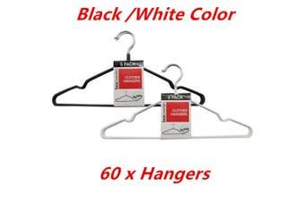 60 x NonSlip Metal Clothes Hanger Flocked Laundry Coat Wardrobe Suit Pant Rack Closet