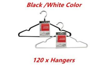 120 x NonSlip Metal Clothes Hanger Flocked Laundry Coat Wardrobe Suit Pant Rack Closet