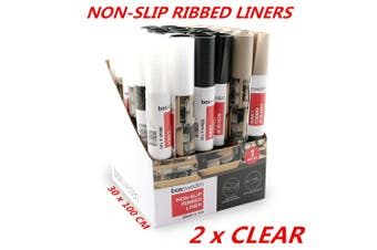 2 x Clear Non Slip EVA Mat Shelf Liner Ribbed Cut Fit Any Size Home Kitchen Clean 1m