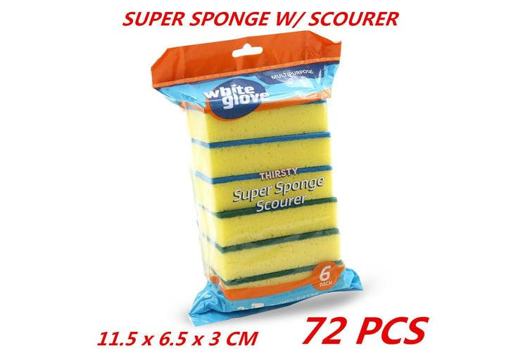 72 x Sponge Cleaning Dish Washing Catering Scourer Scouring Pad Kitchen Multipurpose
