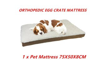 Egg Crate Orthopedic Pet Bed Memory Foam Mat 75X50X8CM Soft Sherpa Non Slip