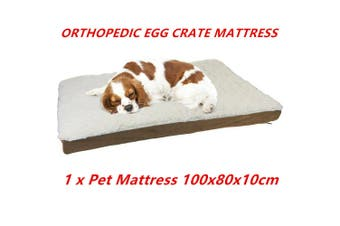 Egg Crate Orthopedic Pet Bed Memory Foam Mat 100X80X10CM Soft Sherpa Non Slip