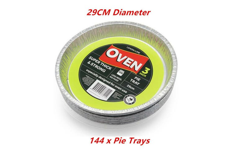 144 x Foil Pie Tray 29CM Aluminium BBQ Baking Catering Party Wedding Food Oven Kitchen
