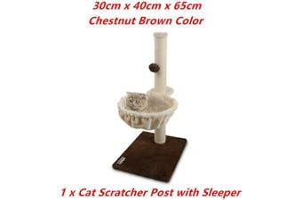 Brown Cat Scratching Post Plush Sleeper Tree House Toy Bed Pet Kitten Scratcher Sisal