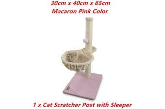 Pink Cat Scratching Post Plush Sleeper Tree House Toy Bed Pet Kitten Scratcher Sisal