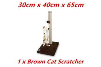 Brown Cat Scratching Post Tree Scratcher Sisal Rope Toy House Pole Kitten Furniture