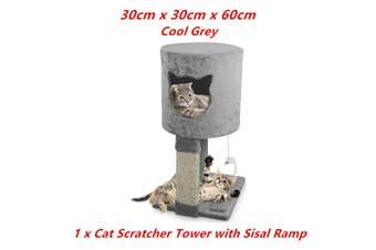Grey Cat Scratching Tower Sleeper Toy Tree Hideaway House Post Sisal Pole Scratcher