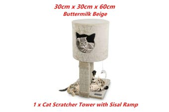 Beige Cat Scratching Tower Sleeper Toy Tree Hideaway House Post Sisal Pole Scratcher