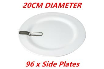 96 x 20cm White Round Melamine Plates Starters Salad Dessert White Plates Bulk D