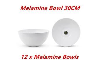 12 x Large Round Melamine White Salad Bowl 30cm Dishwasher Food Safe Mixing Soup Rice