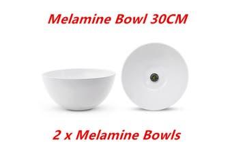 2 x Large Round Melamine White Salad Bowl 30cm Dishwasher Food Safe Mixing Soup Rice