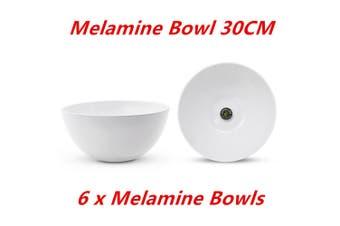 6 x Large Round Melamine White Salad Bowl 30cm Dishwasher Food Safe Mixing Soup Rice