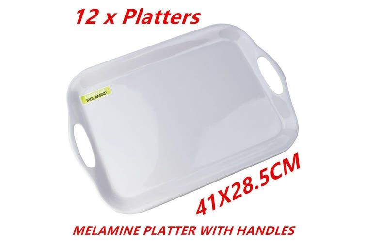 12 x Glossy White Rectangular Melamine Serving Trays w Handle Food Tray Platter 41CM