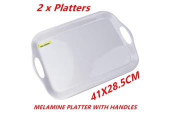 2 x Glossy White Rectangular Melamine Serving Trays w Handle Food Tray Platter 41CM