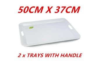 2 x White Melamine Serving Trays With Handle 50cm Kitchen Platter Party Catering