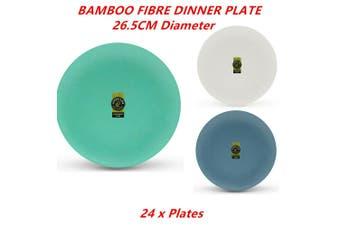 24 x Bamboo Melamine Fibre Dinner Plate 26.5CM Eco Fiber Dishwasher Safe Round Dish