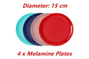 4 x Round Melamine Side Plate 15cm Small Dessert Salad Table Dinner Rice Snack Party