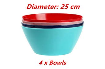 4 x Round Melamine Salad Bowl 25cm Large Table Rice Soup Cereal Serving BPA Free