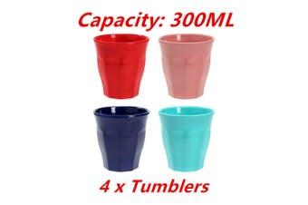 4 x 300ML Melamine Tumbler Drinking Cup Tea Coffee Glasses Mug Party Water Classic