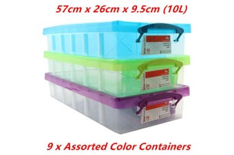 9 x 10L Compartment Storer 6 Section 57x26x9.5CM Container Divider Clip Lock