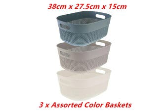 3 x Boston Round Basket Large 38X27.5X15CM Handle Bin Laundry Bathroom Office