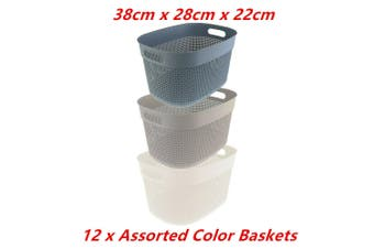 12 x Boston Round Basket Large 38X28X22CM Handle Bin Laundry Bathroom Office