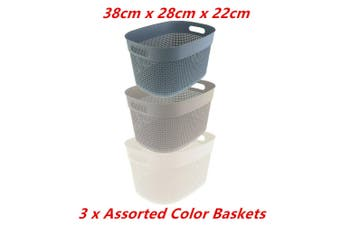 3 x Boston Round Basket Large 38X28X22CM Handle Bin Laundry Bathroom Office