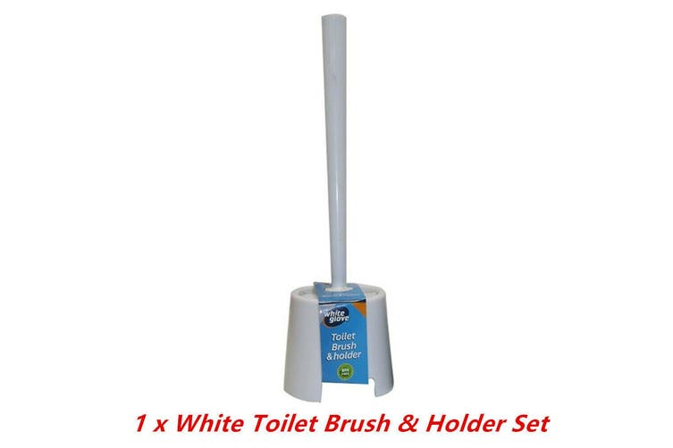 1 x White Plastic Toilet Brush n Holder Set Stand Bowl Bathroom Cleaning Supply Home