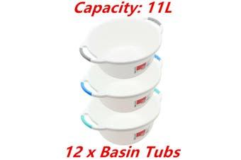 12 x Wash Basin Tub 11L Round Ergonomic Handle Container Water Bowl Laundry Bath