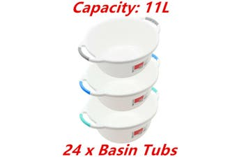 24 x Wash Basin Tub 11L Round Ergonomic Handle Container Water Bowl Laundry Bath