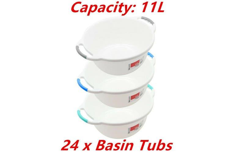 24 x Wash Basin Tub 11L Round Ergonomic Handle Container Water Bowl Laundry Bath