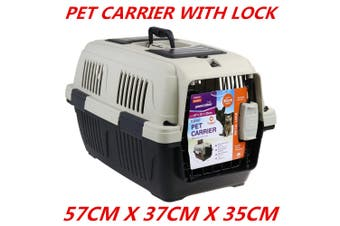 Portable Travel Pet Cat Dog Carrier w Lock Crate Transporter Cage House Airline