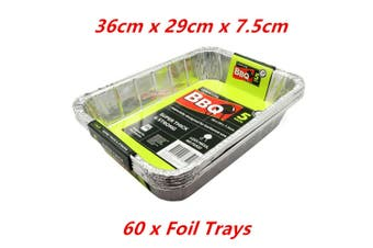 60 x Aluminium Deep Baking Foil Tray 36X29X7.5CM Catering Container Oven BBQ Takeaway