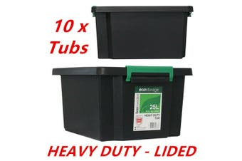 10 x 25L Recycled Heavy Duty Black Plastic Storage Crates Containers Tub Lid