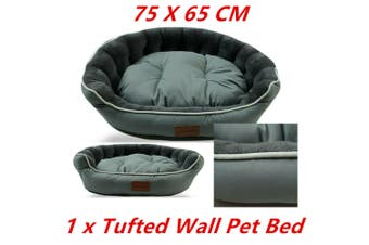 Teal Pet Tufted Wall Lux Bed 75X65CM Cat Dog Mattress Pad Cushion Basket Soft