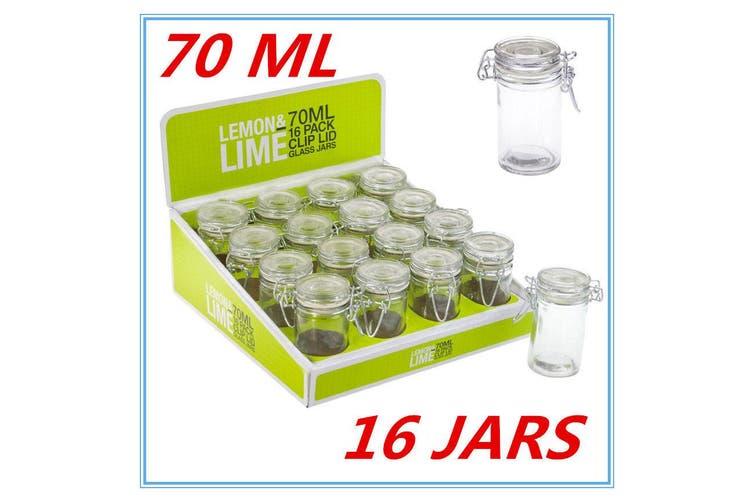 16 x 70ml Spice Mini Glass Jars with Clip Lid Bottle Jam Storage Container Jar D