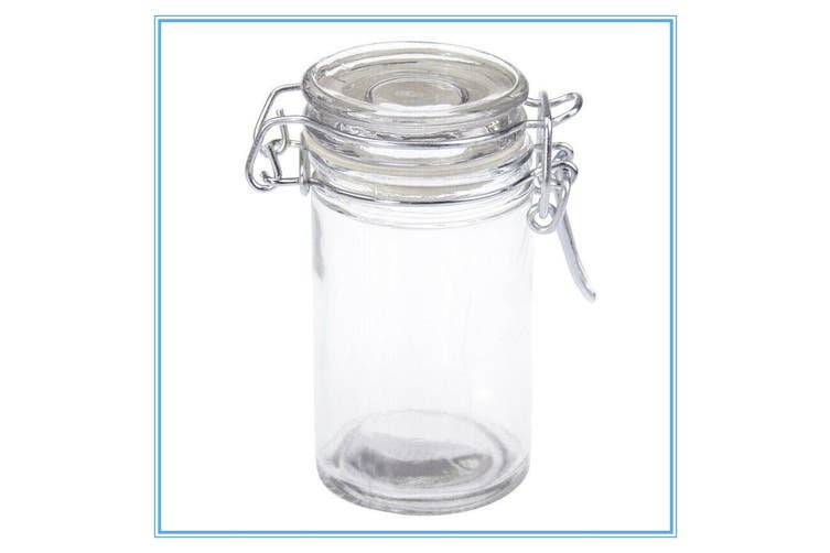 16 Spice Mini Glass Jar Bottle With Clip Lock Lid For Kitchen Herb Jam Storage W