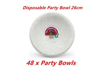 48 x Party Salad Bowl White Plastic Food Catering Round Disposable BPA Free Soup