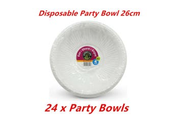 24 x Party Salad Bowl White Plastic Food Catering Round Disposable BPA Free Soup