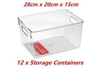 12 x Large Crystal Clear Plastic Container w Carry Handle Fridge Pantry Storage 28cm