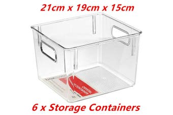6 x Medium Crystal Clear Plastic Container w Carry Handle Fridge Pantry Storage 21cm