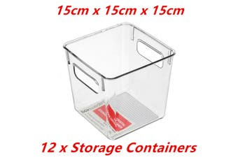 12 x Small Crystal Clear Plastic Container w Carry Handle Fridge Pantry Storage 15cm