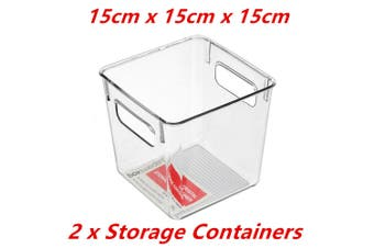 2 x Small Crystal Clear Plastic Container w Carry Handle Fridge Pantry Storage 15cm